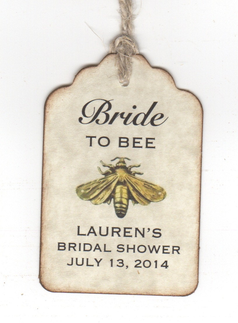 Wedding Favor Honey Tags : 50 Shower Favor Bride To BEE Tags Bridal Shower by luvs2create2