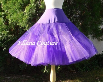 Purple Tea Length Crinoline. Extra Fullness Petticoat. Designed specifically for our Tea Length Dresses. Available in Other Colors.
