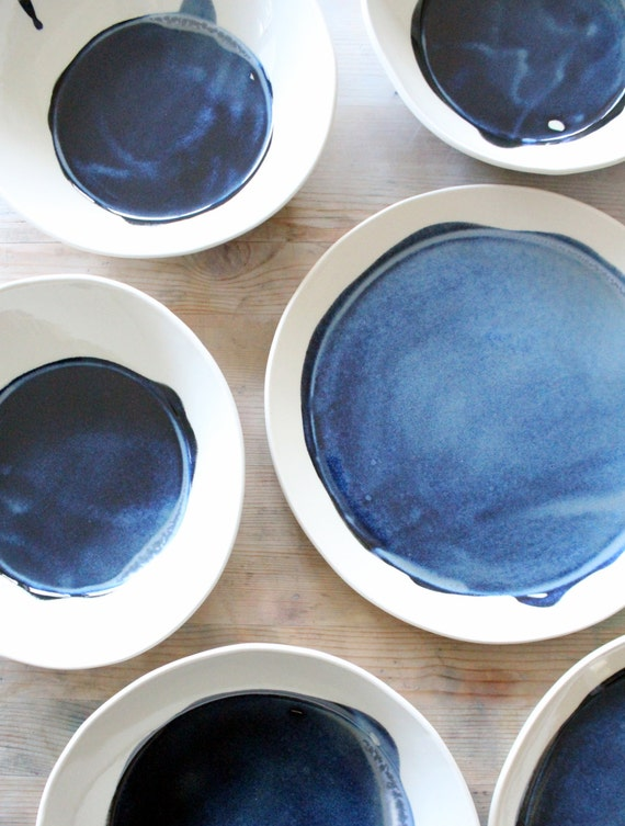 IN STOCK porcelain large dish/bowl modern deep blue.
