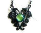 Fused Glass Art Jewellery Flower Filigree Goth Choker Black Victorian Gothic Necklace Fall Fashion