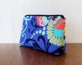 Cosmetic Bag - Amy Butler Paradise Garden - Medium Zippered Pouch - Makeup Bag - Makeup Case - Cosmetic Case - Gadget Bag - Pencil Case