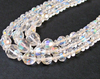 1950s Crystal Necklace Triple Strand Beads