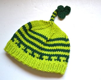 Hand knit  BABY HAT Shamrock   St. Patrick  beanie Newborn to  pick your size  Munchkins  Green Mint Clover Irish holiday  photo prop