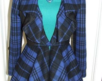 SALE 45% off - Sample -Plaid Wool and Leather Fully lined Womens Jacket with full collar and peplum -Royal and Black