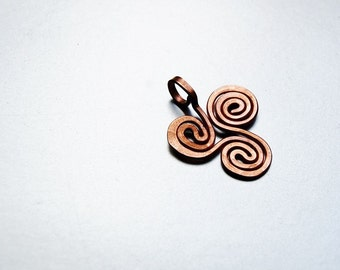 Small triskele copper trispiral pendant hand hammered