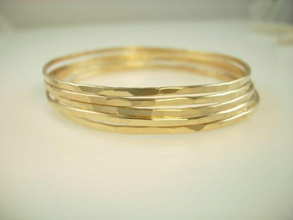 ... Stacking Bracelets - Hammered Bracelet - Hammered Bangle Bracelets