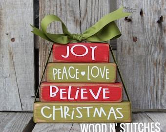 Christmas primitive Wood Stacker block set believe joy peace love Gift Christian Religious Jesus Faith Winter Seasonal Home decor gift Faith