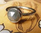 1.52 Carat Rose Cut Grey Diamond Engagement Ring