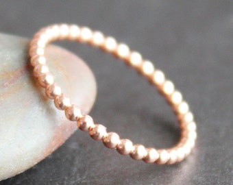 Rose Gold Vermeil 1.5mm Beaded Dot Bubble Ring - Midi Ring (Various Sizes 2-4) - READY TO SHIP