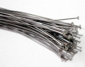 "Silver Headpins - Dark Silver Plated Flat Headpins - Long Head pins  -3""- 75mm - 23 Gauge (100) PCS - Metal Jewelry Findings - Bulk Options"