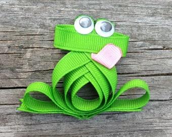 Frog Hair Clip, Green Frog Hair Bow, Toddler Hair Clip, Frog Ribbon Hair Clip, Animal Hair Clip, Zoo Hair Clip, Girls Hair Accessories