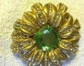 Vintage Brania Stunning Brooch Clear Stones Green Peridot type Large Center Stone