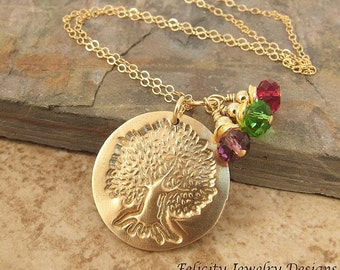 Family Tree - Bronze, Birthstone Crystal and Gold Fill Necklace
