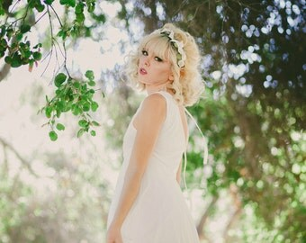 wedding hair crown, hair piece, lilies, woodland wedding, hair wreath, spring wedding, floral hair accessory, hair crown, woodland 'Meadow'
