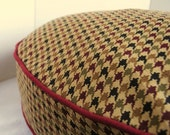 DOG BED COVER     Colorful Houndstooth with Piping   Maroon,Burgundy,Olive,Tan 26 round