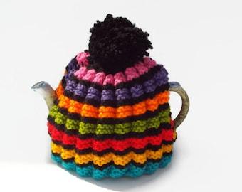 tea cosy  hand knitted cozy rainbow tea cosie