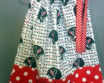 Houston Texans with Red  Polka Dot pillowcase dress available in sizes 3-6 mon,6-9 mons,12 mons,18 mons,2T,3T and 4T