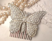 1920s - 1930s Art Deco TRUE Vintage Clear Rhinestone Butterfly Bridal Hair Comb, Heirloom Paved Rhinestone Brooch to OOAK Hair Comb