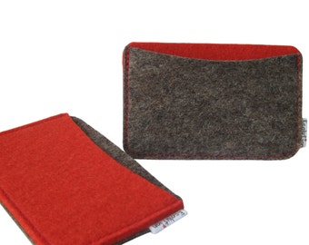 Gift Set of 2 Business Card Holders- wool felt- eco friendly-  red grey- handmade- minimalist - great gift