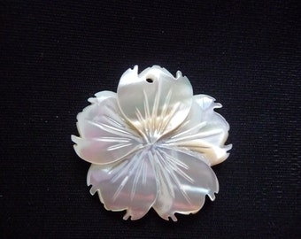 Focal, Pendant, Golden Lip Shell,  Natural, 30mm Carved Flower,  Iridescence, Top-Drilled, Sold Individually