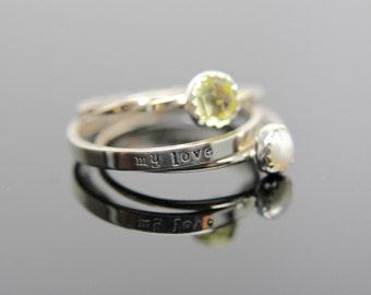 Three 14k white gold gemstone stacking rings set. Custom band set of 3 rings gemstone stacking rings.