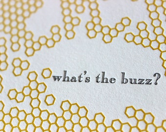 Letterpressed 'What's the Buzz' Card