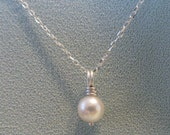Akoya Pearl Solitaire Necklace Single Cream White Drop Pendant AAA JJDLJewelryArt