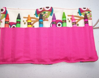 Pink Owl crayon roll up 8 count