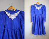 Girl's Victorian Dress Vintage Kids Lace Collar Ruth of Carolina 12