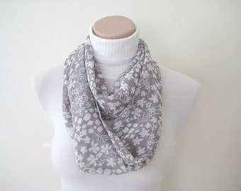 Gray Scarf - Grey fabric with white flowers pattern - Long scarf - Infinity summer scarf - Gift for Her - Ready to Ship