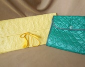 RESERVED FOR SIMPLYBOMBSHELL...Vintage 60's Travel Set, Glove Holder and Stocking Holder, Green and Yellow, Mid Century