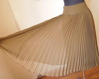 LAST CHANCE SALE Vintage 80's Olive Green Pleated Skirt, Flowy Knife Pleat Midi, Women's Small to Medium Waist 25