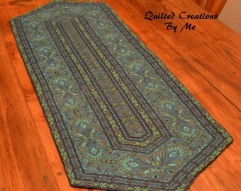 Quilted Table Runner  in Teal, Blue and Black by Quilted Creations By Me
