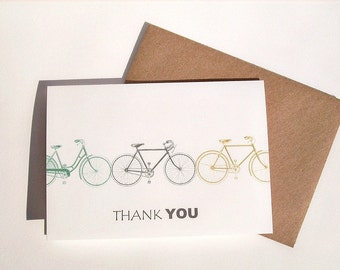 Bike Thank You Notes - Vintage Bicycles, Bike Thank You Cards, Teal Blue Grey Chartreuse Green Bike Bicycle Note Card Set, Bike Stationery