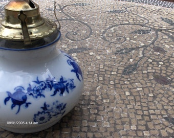 PRICE REDUCTION - Antique Bavarian Porcelain Lamplight Farms oil Lamp - Beautiful