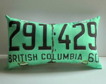 Turquoise British Columbia license plate pillow