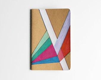 Geometric Notebook, Illustration, Colorful, Hand Drawn, To Do List, OOAK