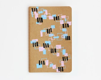 Sale! Geometric Pattern Notebook, Random Rectangles, Illustration, Colorful, Hand Drawn, To Do List, OOAK