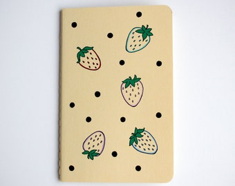 SALE - Notebook, Strawberries, Polka Dots, Pocket Journal, Illustration, Pastel, Yellow, Hand Drawn, OOAK, Gift for her