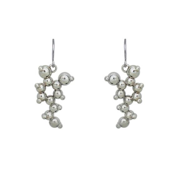 Dopamine Molecule Silver Earrings