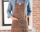 No. 325 Artisan Apron in Rust Waxed Canvas & Brown Horween Leather