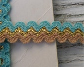Turquoise, Tan, Gold RICK RACK, 28 yards, Southwest Colors, Vintage Sewing Trim