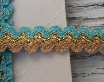 Turquoise, Tan, Gold RICK RACK, 28 yards, Southwest Colors, Vintage Sewing Trim