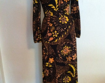 Vintage Halloween Floral Poly Flannel Hostess Dress Small