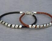 Personalized Secret Message Bracelet - Mom/Grandma/Nana/Aunt/Unisex/Dad/Father/Grandpa/Uncle - Sterling Silver - Leather -