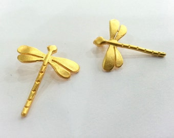 2 Gold Charms Dragonfly Charms , Gold Plated Brass 2 Pcs (22x20 mm)   G2394