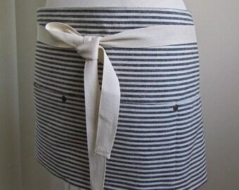 Half Apron  Woman Hemp Cotton Apron Indigo Stripe   Craft Apron Cook Apron Kitchen Apron