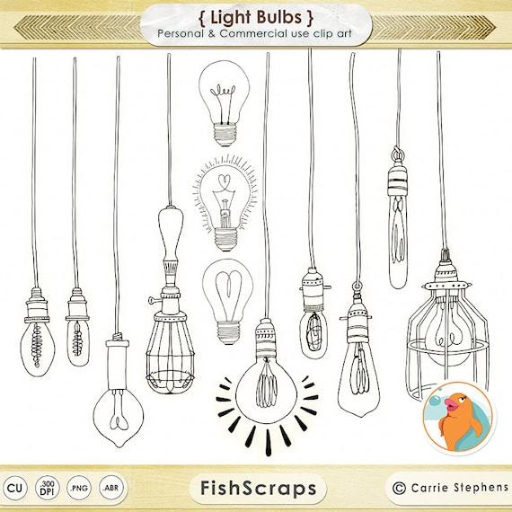 Line Art Light Bulb : Lightbulb clip art wedding string light clipart vintage