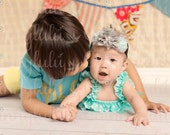 Grey and Aqua Rossette Lace Baby Headband