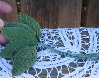 50% off this item, enter LOVE99 at checkout, Vintage Millinery Moss Green Leaf, Crafting, Made in Lorea, Millinery, Greenery, DIY, Destash